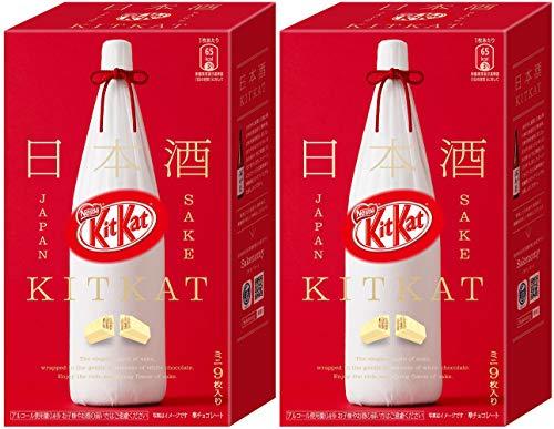 (Japanese Kit Kat Sake Flavor Sweetness for Adults, mini bar 9 pcs x 2 boxs (Original Green Tea Set))