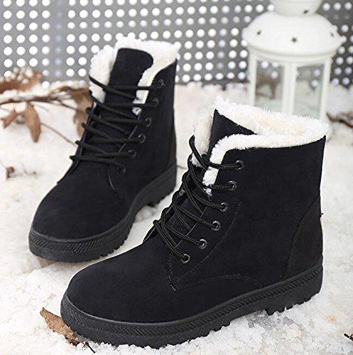 Winter Lined Bumud 7 Women's M Sneaker Warm Fur Black Snow Shoes US Flat Boots B p55Tnqvr