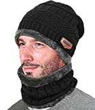 T-wilker Beanie Hat Scarf Set Chunky Soft Stretch Cable Warm Thick Knit Hat Fleece lining Tough Headwear ?black?…