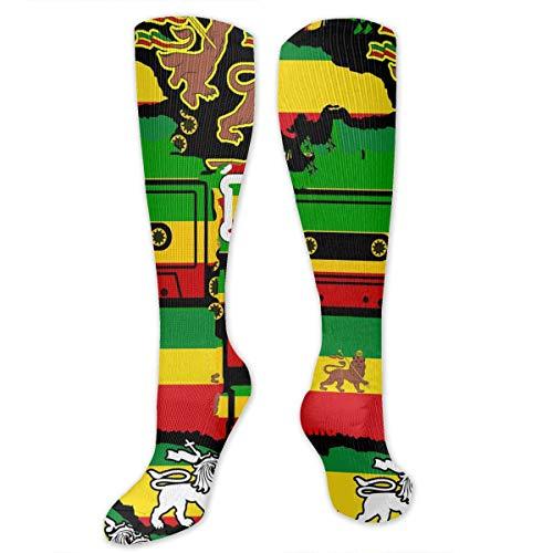 ion Rastafarian Reggae Rasta Style Camo Camouflage 3D Printed Athletic Socks Extra Long Socks Knee High Socks for Men Women Boys Girls Outdoor Activities ()