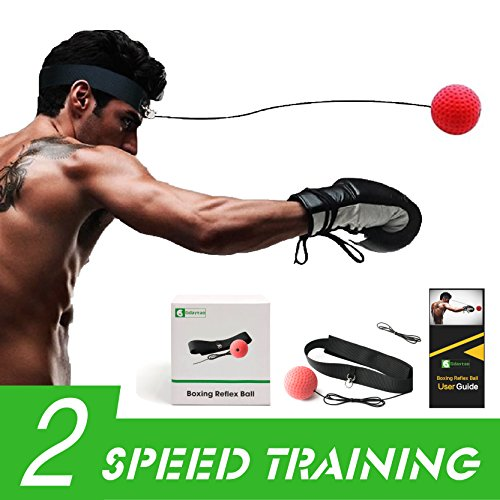 Gdaytao Boxing Reflex Ball with Headband, Boxing Fight Ball on String, Training to Improve Hand Eye Coordination, Punching Skill, Speed, Reaction, Great Boxing Trainer for Kids and Adult by Gdaytao
