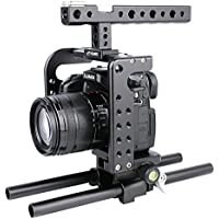 Handheld Camera Cage, [PULUZ] Handle Video Stabilizer with Top Handle Grip + Rail Rod + HDMI Clamp for Panasonic Lumix DMC-GH5 (Black)