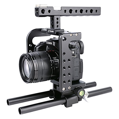 Handheld Camera Cage, [PULUZ] Handle Video Stabilizer with Top Handle Grip + Rail Rod + HDMI Clamp for Panasonic Lumix DMC-GH5 GH4(Black) by PULUZ