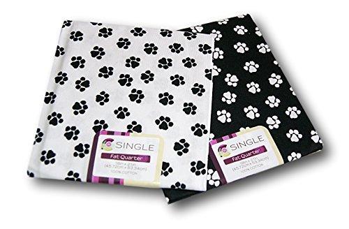 - Creative Cuts Paw Prints Fat Quarters Bundle - Black and White Pattern Theme