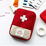 Portable Medical Bag, Lotus.flower Small Volume Emergency Survival Drug Storage First-Aid Kit Outdoor Treatment Home Rescue Packet Aid Outfit (Red, S)