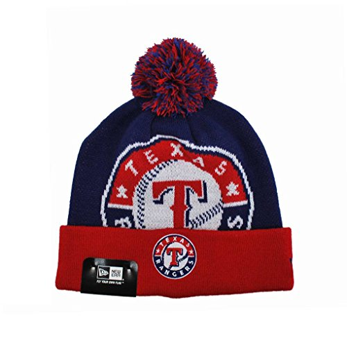 New Era Texas Rangers Beanie Royal Blue/red Mlb Headwear Knit One Size