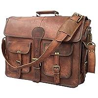 DHK 18 Inch Vintage Handmade Leather Messenger Bag Laptop Briefcase Computer Satchel Bag for Men