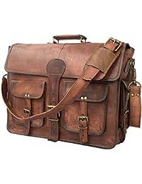 DHK 18 Inch Vintage Handmade Leather Messenger Bag for Laptop Briefcase Best Computer Satchel Distressed Bag