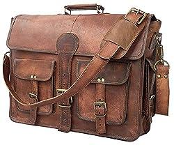 DHK 14 Inch Vintage Handmade Leather Messenger Bag for Laptop Briefcase Best Computer Satchel Distressed Bag