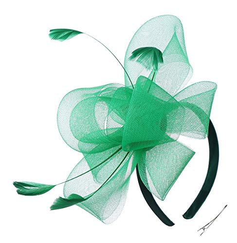 Felizhouse Fascinator Hats for Women Ladies Feather Cocktail Party Hats Bridal Headpieces Kentucky Derby Ascot Fascinator Headband (#4 St Patricks Green)