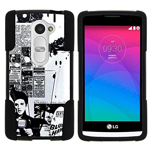 (MINITURTLE Case Compatible w/ LG Sunset Phone Case, Armor Cover STRIKE Impact Stand Case w/ Customized Designs for Leon LTE C40, Risio H343, Tribute 2 LS665, Power L22C, Destiny L21G Rock Like Elvis)