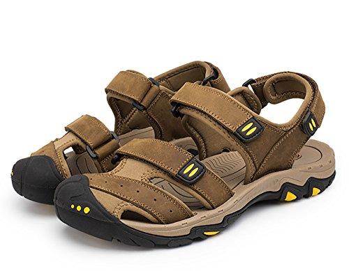 Scarpe Sandali Alta Marrone Studio Escursionismo Sandalo Trekking Pelle Uomo SK chiaro Sportivi Suola Chiusi Rzwq1n