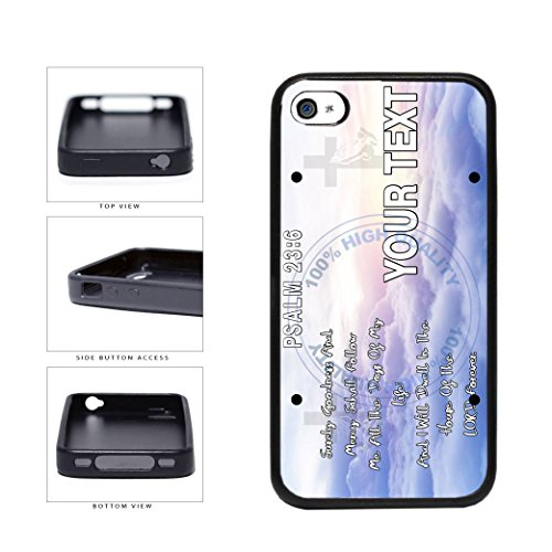 BleuReign(TM) Personalized Bible Series Mercy Verse Psalm 23-6 License Plate TPU RUBBER SILICONE Phone Case Back Cover For Apple iPhone 4 4s