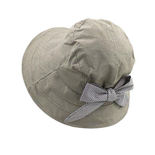 LETHMIK Summer Hats Ladies Casual Cotton Brimmed Hats Bowknot Beach Sun Hat Gray