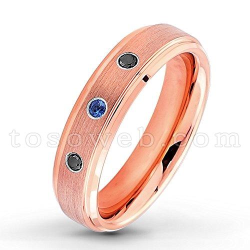 e19e01c251c4d Ladies 0.21ctw Blue Sapphire & Black Diamond 3-Stone Wedding Band ...
