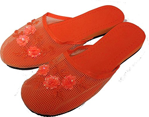 Women's Slippers with Sequin Colors Orange 15 in Available Mesh PPOrwF
