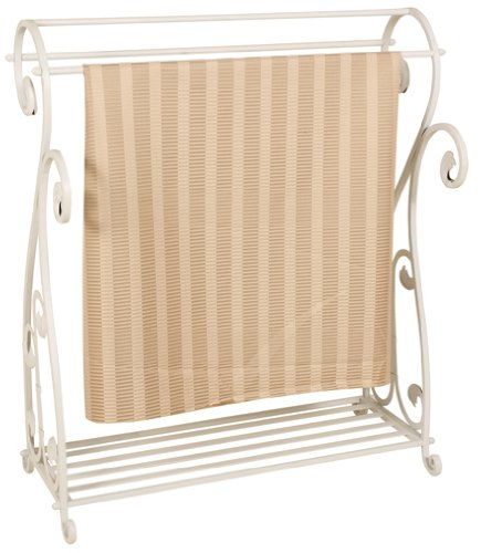 Welcome Home Accents Whitewash Metal Quilt Rack with Shelf by Welcome Home Accents