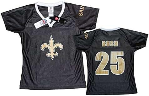 0588ca59a4c Amazon.com: New Orleans Saints NFL Womens REGGIE BUSH # 25 Dazzle Fashion  Jersey, Black (Large, Black): Clothing