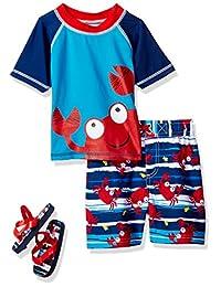 Wippette Baby Boys Cute Crabby Rashguard Swim Trunk Set with Flip Flops, Navy, 12 Months