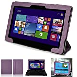Mulbess - Asus Transformer Book T100TA Tablet Notebook CleverStrap Case Cover - Leather Case Cover Sleeve with EasyStand Color Purple