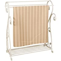 Whitewash Metal Quilt Rack with Shelf