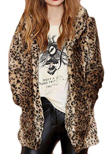 LD Womens Faux Fur Leopard Print Open Front Warm Lapel Long Jacket Coat 1 2XL (Leopard Jacket Print)