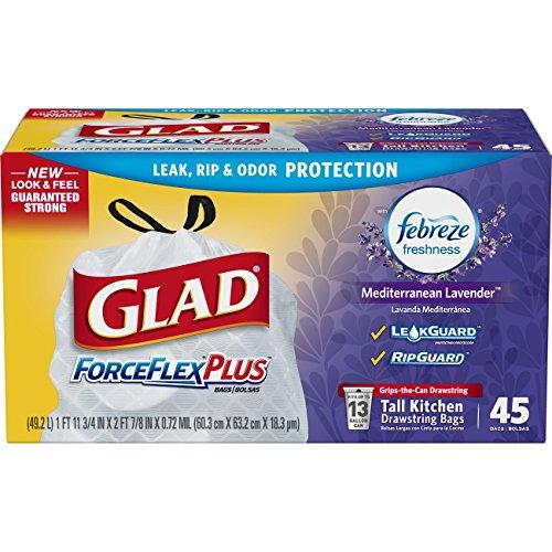 Forceflex Bags Glad Trash (Glad ForceFlex OdorShield Tall Kitchen Drawstring Trash Bags - Febreze Lavender Breeze - 13 Gallon - 45 Count)