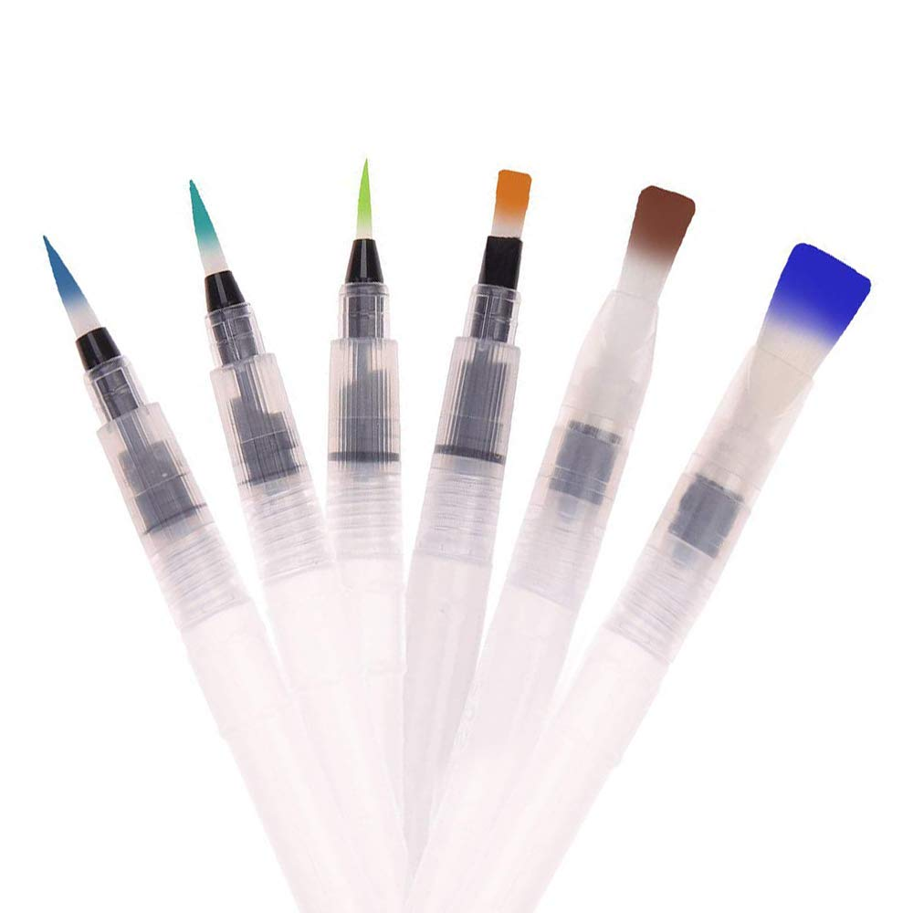 Watercolor Pens, RVOKOMS 6 Watercolor Brush Pens for Watercolor Painting, Calligraphy, Water Soluble Pencil, Brush Pens, Markers, Suitable for Kids, Art Students, Amateur and Professional Artists