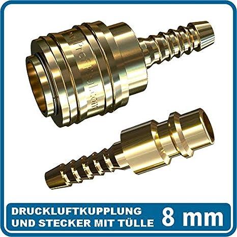 Messing Druckluft Kupplung und Stecker DN 7,2 Standard mit Schlauchanschlu/ß 6 mm