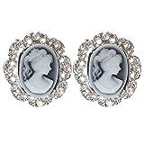 SUMAJU Cameo Stud Earring, Gemstone Silver-Tone Cameo Stud Post Earrings For Women