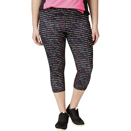Ideology Womens Plus Capri Printed Leggings Black 3X
