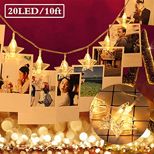 LED Hanging String Lights 10 Feet 20 LED Clips Photo Battery Powered Starry Firefly Strand Lights Twinkle Star String Lights for Home Wedding Party Decor Lights for Hanging Photos, Cards ()