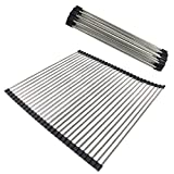 Gobrico Food-Grade Stainless Steel Black Over-the-Sink Roll Up Dish Drying Rack/Multi-purpose/Heavy Duty 2Pack