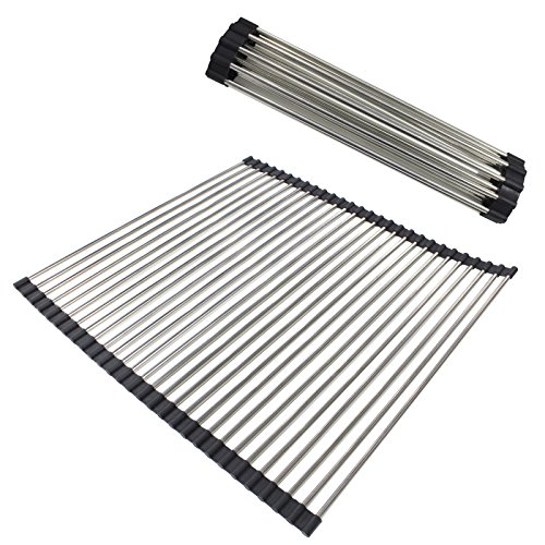 Gobrico Food-Grade Stainless Steel Black Over-the-Sink Roll Up Dish Drying Rack/Multi-purpose/Heavy Duty 2Pack by Gobrico