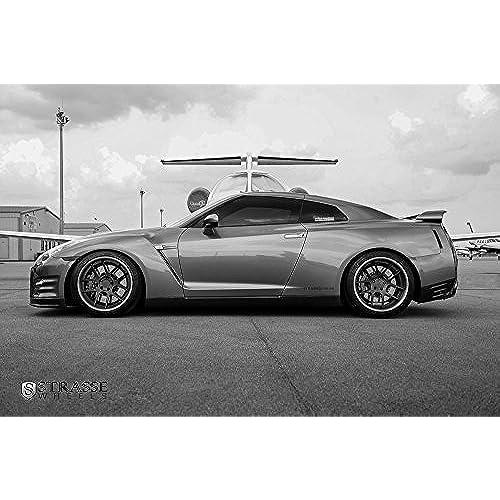 Nissan R35 GTR GT R Skyline Alpha 7 Left Side On Strasse Wheels HD Poster  Bu0026W 36 X 24 Inch Print