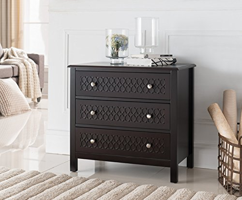Pilaster Accents (Espresso Wood Accent Entryway Display Console Table With Storage Drawers)