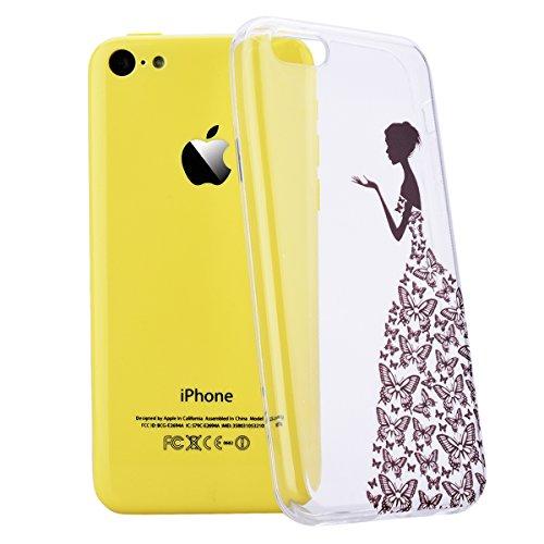 We Love Case Silicone Étui TPU Coque pour Apple iPhone 5C Papillon Fille Transparent Housse de Protection Soft Shell Mode Original Coque Strass Case Swag Souple Gel Etui Cas de Couverture