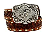 Nocona Boy's Rodeo Bull Rider Motif Buckle Belt, Tan, 20