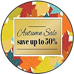 Hua Wu Chou Round Rug mat Non slipround Gym mat D2'/0.6m Autumn Sale Poster Flyer Card Template with Typography Bright Fall Maple Leaves Spica rowanberry Vector Illustration 1