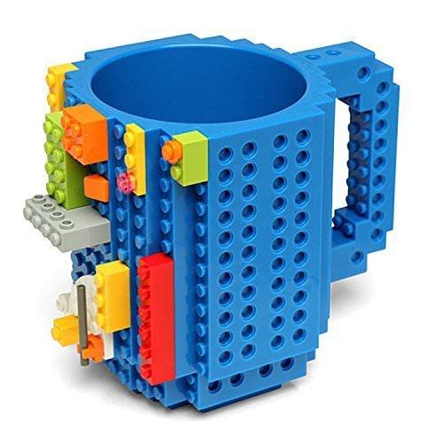 Wetco Build On Brick Mug - BPA-Free 12oz Blocks Coffee Cup, Comes with Build-On Building Bricks, Plastic Mug for Coffee Tea Beverage Drinking, Creative and Funny (Blue)