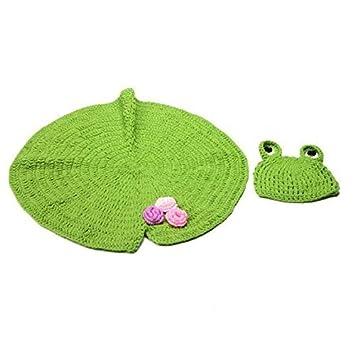 Lotusblatt Decke Neugeborene Baby Knit Strick Fotoshooting Kostüm Frosch Mütze