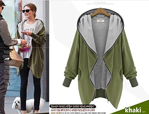 y capucha manga con cremallera mujer larga cremallera de con de y para Asia Sudadera capucha verde BpqXz