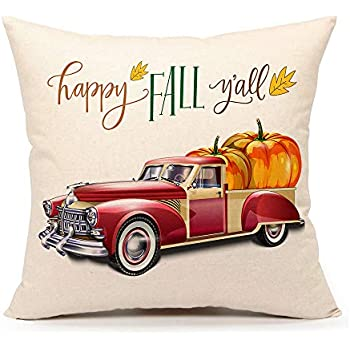 Amazon Com Aeney Fall Red Truck And Pumpkin Throw Pillow