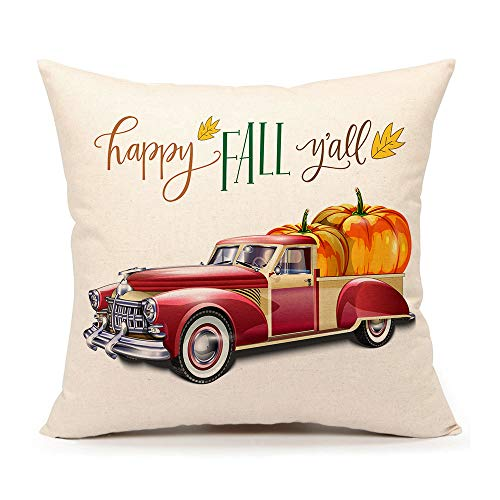 4TH Emotion Happy Fall Y'all Truck Pumpkin Throw Pillow Case Cushion Cover 18 x 18 Inch Cotton Linen Halloween Thanksgiving Home -