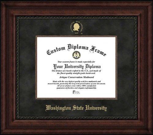 Laminated Visuals Washington State University Cougars - Embossed Seal - Suede Mat - Mahogany - Diploma Frame