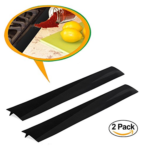 "Silicone Kitchen Stove Counter Gap Cover Seals, Wide & Long Gap Filler Set of 2, Seals Spills Strip Stopper Between Washing Machines, Oven, Washer, Dryer, 21"" Non-toxic Flexible Gap Caps (Oven Filler)"