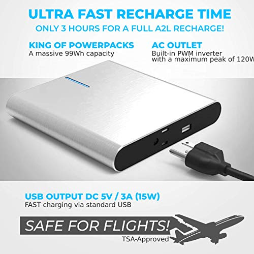 LIFEPOWR A2L Highend Laptop Power Bank Portable AC Outlet Portable Charger 120W 99Wh 27000mAh Aluminum Case Compatible with MacBook Power Bank AC Power Bank Portable Laptop Charger