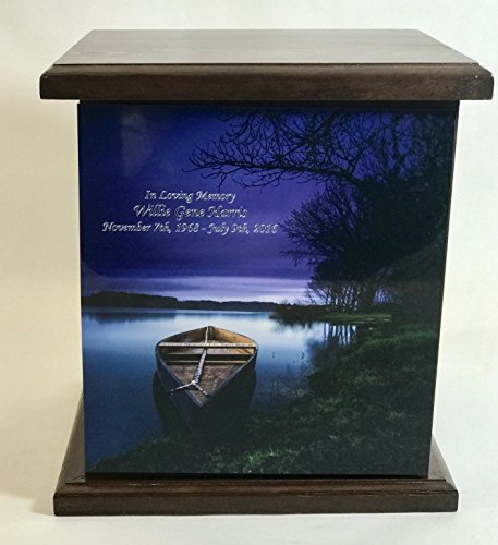 Boat Wooden Cremation Urn, Wood Funeral Urns, with Personalization by NWA (Image #1)