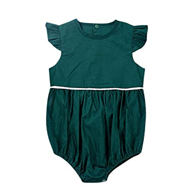 24d88b74e050 Amazon.com  ❤ Mealeaf ❤ Toddler Kids Baby Boy Girl Short Romper Bodysuit  Solid Casual Clothes Outfits 3-24 Month  Clothing