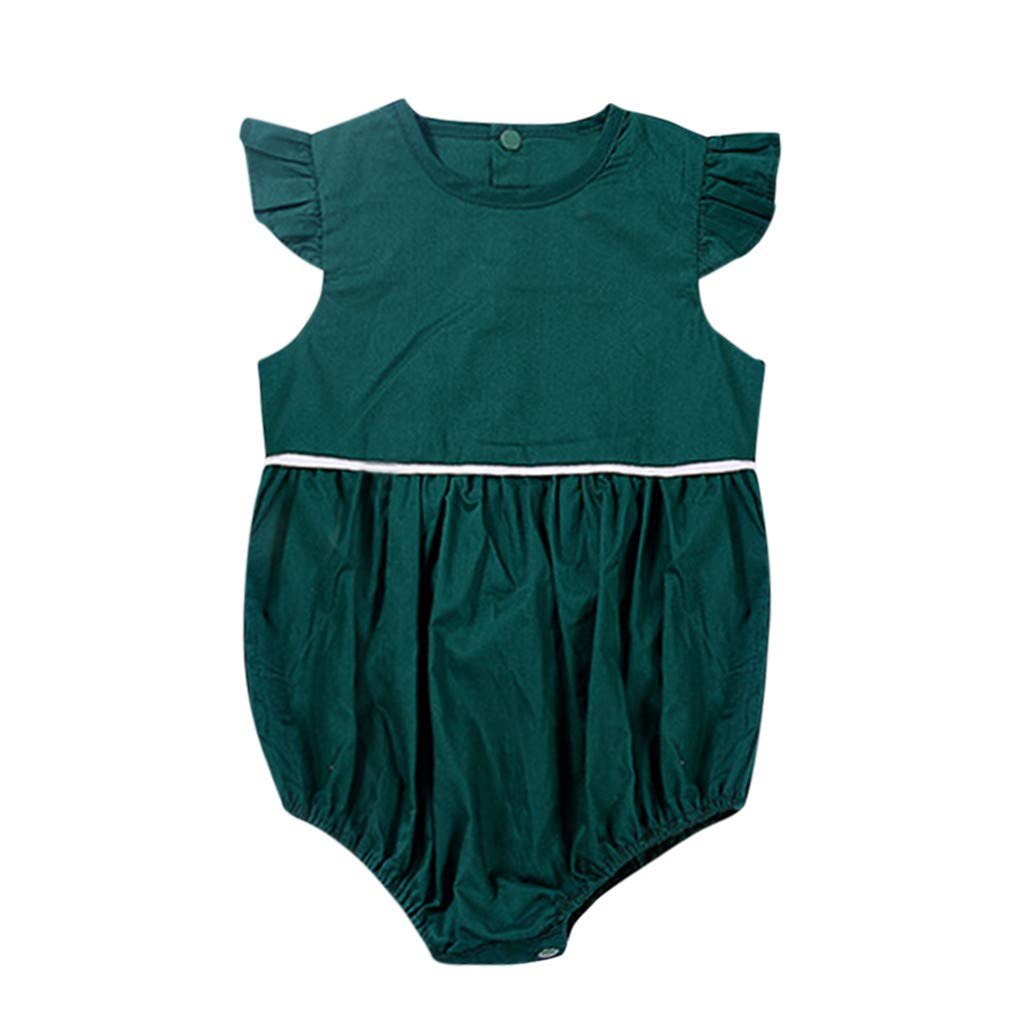 Bokeley Toddler Infant Baby Boy Girl Romper Butterfly Sleeve Green Jumpsuit Romper Solid Casual Outfits Sunsuit Clothes (Green, 3-6 Months)